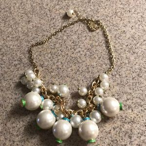 Lilly Pulitzer pearl necklace gold green blue